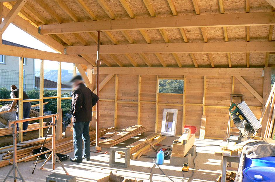 Maison ossature bois loire defa bati charpentier - Interieur maison ossature bois ...